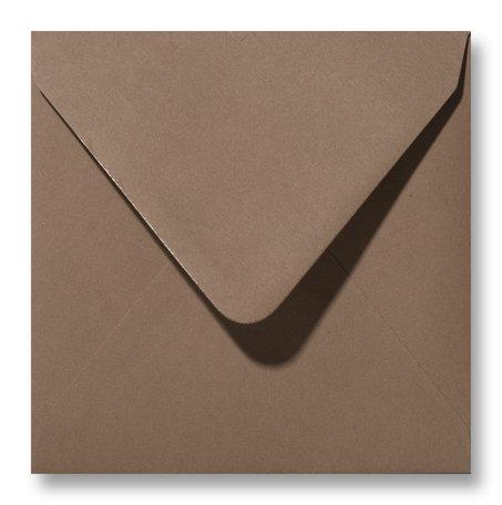 Envelop 14 x 14 cm Donkerbruin