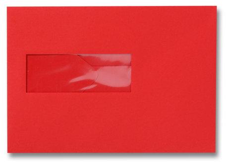 Envelop 15,6 x 22 cm Koraalrood venster