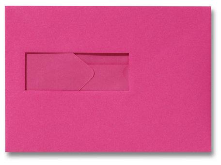 Envelop 15,6 x 22 cm Knalroze venster
