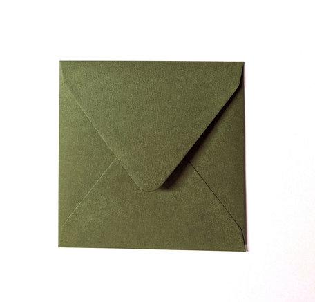Envelop 14 x 14 cm Varengroen Structuur