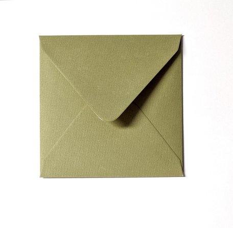 Envelop 14 x 14 cm Olijfgroen Structuur