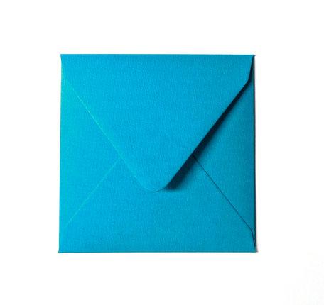 Envelop 14 x 14 cm Aquablauw Structuur
