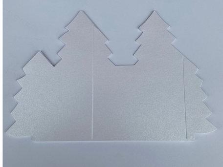 Kerstboomkaart - Metallic White 50 stuks