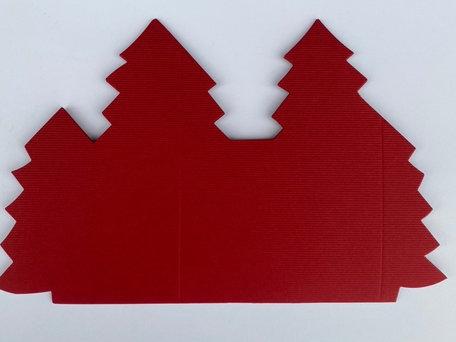 Kerstboomkaart - Kerstrood linnen  50 stuks