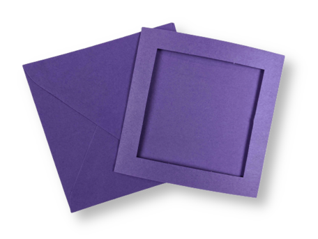 Passe-partout kaart met envelop Violet 14 x 14 cm 4 stuks