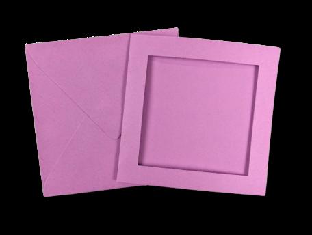 Passe-partout kaart met envelop Lila 14 x 14 cm 4 stuks