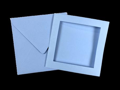 Passe-partout kaart met envelop Lavendelblauw 14 x 14 cm 4 stuks