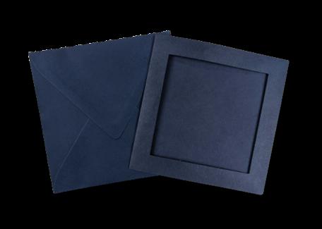 Passe-partout kaart met envelop Donkerblauw 14 x 14 cm 4 stuks