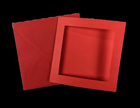 Passe-partout kaart met envelop Rood 14 x 14 cm 4 stuks