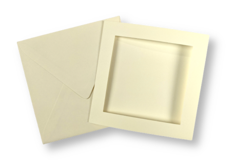 Passe-partout kaart met envelop Ivoor 14 x 14 cm 4 stuks