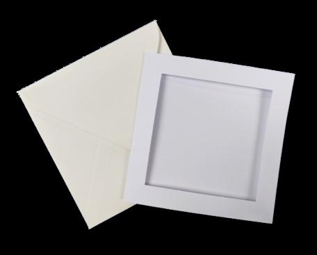 Passe-partout kaart met envelop Wit 14 x 14 cm 4 stuks