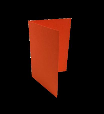 Dubbele kaart staand 7,5 x 11 cm Donkeroranje