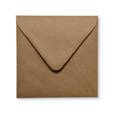 Envelop 14 x  14 cm Kraft Donkerbruin