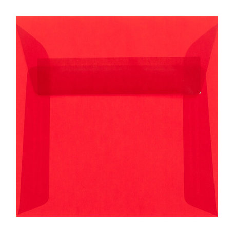 Envelop 12,5 x 12,5 cm transparant rood