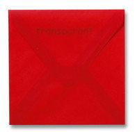 Envelop 14 x 14 cm Transparant Rood