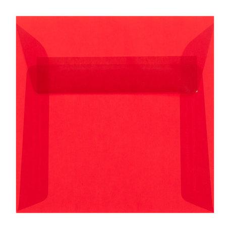 Envelop 17 x 17 cm transparant rood
