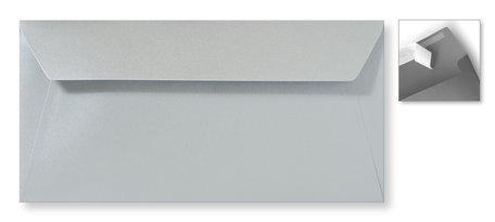 Envelop 11 x 22 cm Striplock Metallic Zilver Pearl