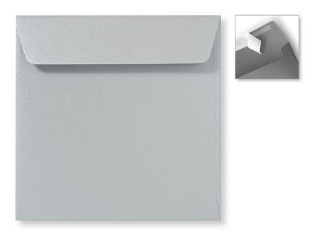 Envelop 16 x 16 cm Striplock Metallic Zilver pearl