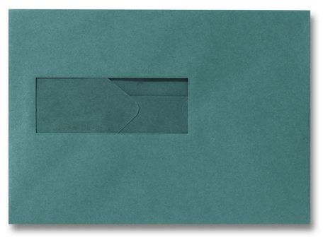 Envelop 15,6 x 22 cm Donkergroen venster