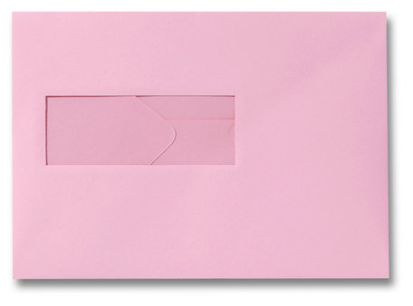Envelop 15,6 x 22 cm Donkerroze venster