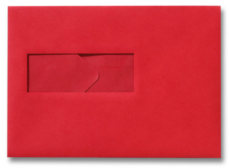 Envelop 15,6 x 22 cm Pioenrood venster