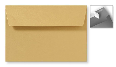 Envelop 12,6 x 18 cm Striplock Metallic Goud Goldrush