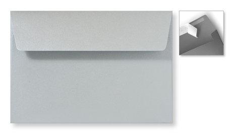 Envelop 12,6 x 18 cm Striplock Metallic Zilver pearl