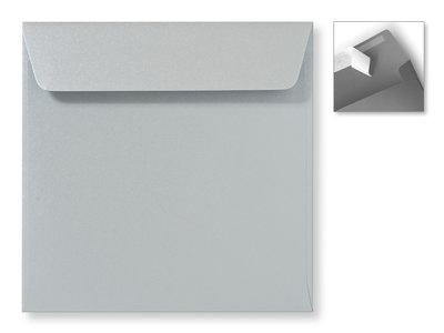 Envelop 16 x 16 cm Striplock Metallic Silver pearl